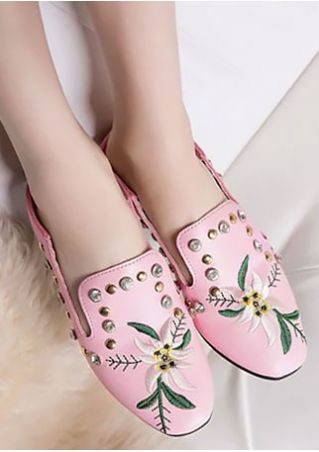 Summer Embroidery Round Toe Flats