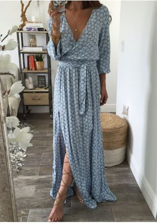 Printed Slit Deep V-Neck Maxi Dress without Necklace