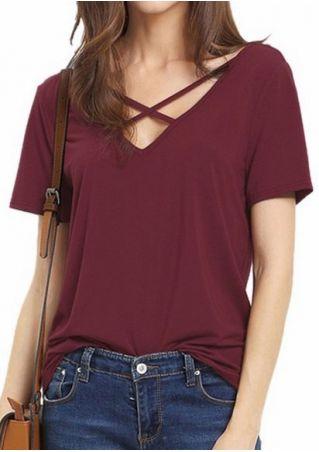 Solid Criss-Cross V-Neck Short Sleeve T-Shirt