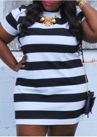 Plus Size Striped O-Neck Mini Dress without Necklace