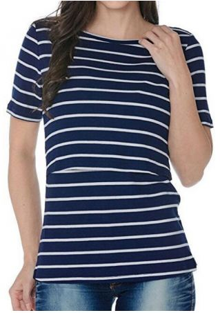 Striped Lactation O-Neck Short Sleeve T-Shirt