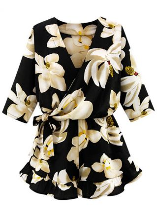 Floral Frill Tie V-Neck Wrap Romper