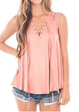 Solid Lace Up Hollow Out Tank