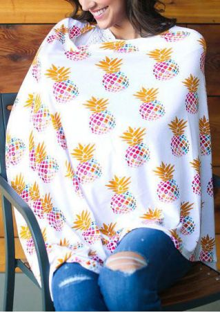 Pineapple Printed Asymmetric Nursing Lactation Poncho