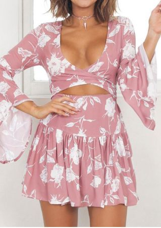 Floral Ruffled Tie Flare Sleeve Mini Dress without Necklace