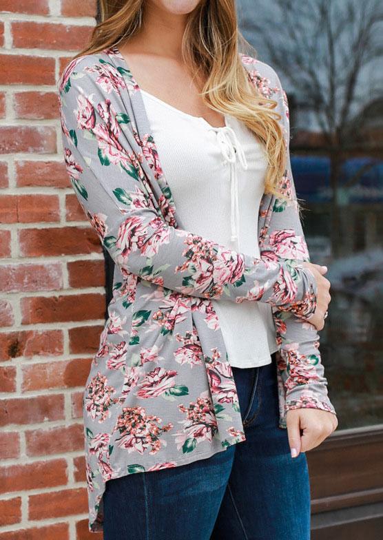 Floral Long Sleeve Asymmetric Cardigan