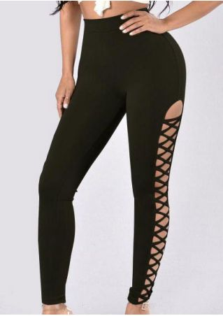 Solid Criss-Cross Elastic Waist Leggings