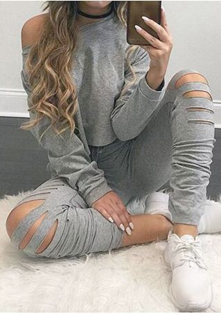 Solid Hollow Out Crop Top and Pants Set without Necklace