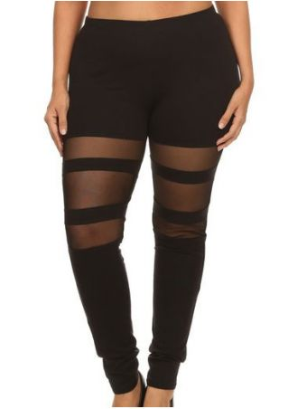Plus Size Solid Mesh Splicing Elastic Waist Leggings