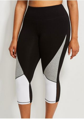 Plus Size Color Block Mesh Splicing Sport Pants