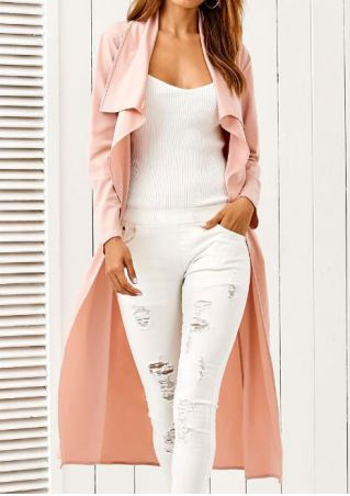 Solid Long Sleeve Coat with Belt