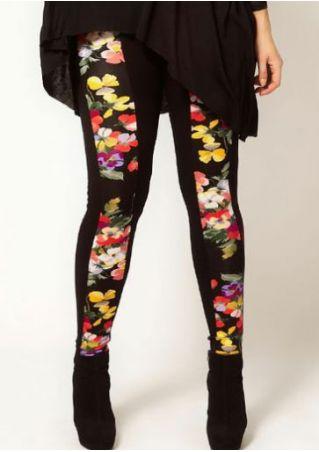 Plus Size Floral Splicing Elastic Waist Leggings