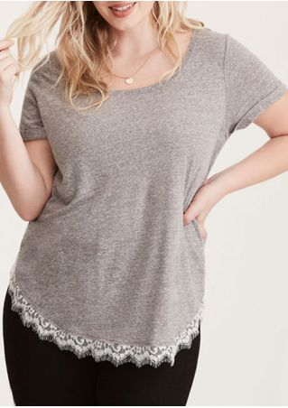 Plus Size Lace Splicing Blouse without Necklace