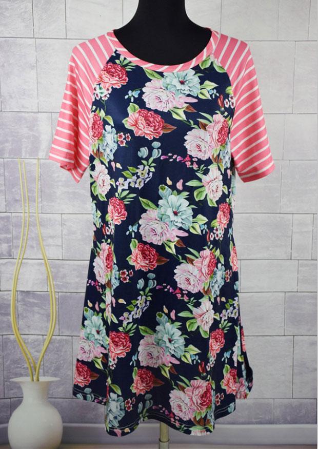 Floral Striped Splicing Mini Dress 145745