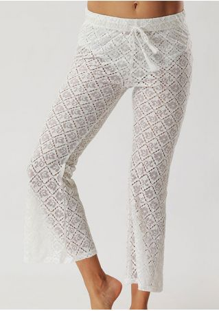 Solid Lace Floral Drawstring Flare Pants