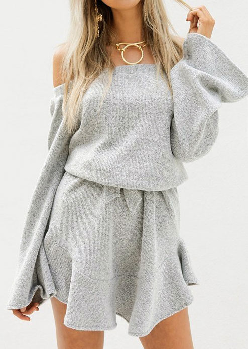 Solid Off Shoulder Mini Dress without Necklace 146416
