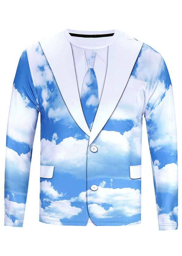 3D Sky Cloud Suit Printed T-Shirt - Bellelily