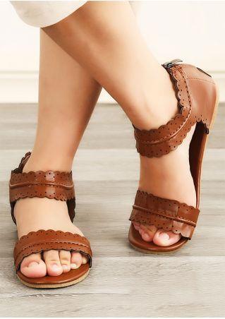 Solid Scallop Zipper Flat Sandals