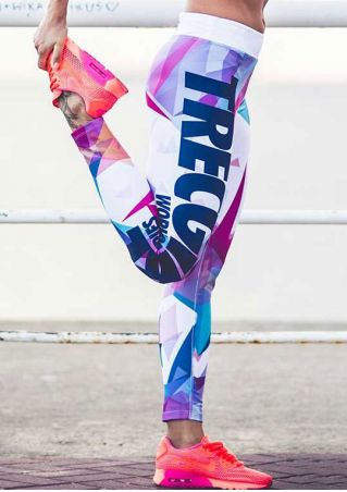 Letter Printed Elastic Waist Skinny Sport Pants