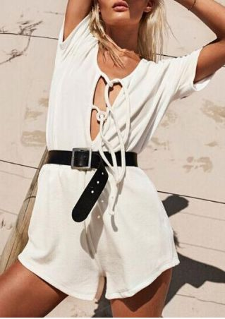 Solid Lace Up T-Shirt and Shorts Set without Belt