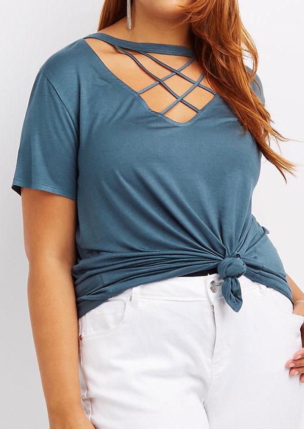 Plus Size Solid Criss-Cross Short Sleeve Blouse 33805