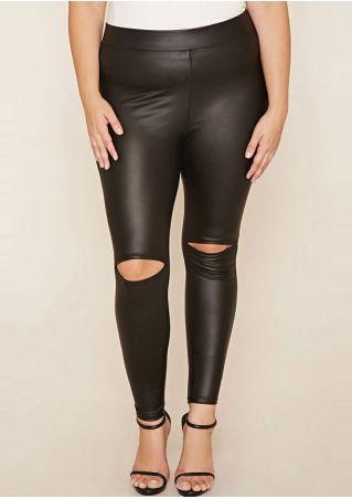 Plus Size Solid Hole Skinny Leggings