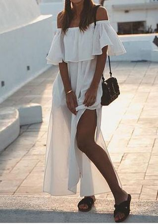 Solid Flouncing Off Shoulder Slit Maxi Dress without Necklace