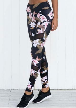 Floral Mesh Splicing Sport Pants