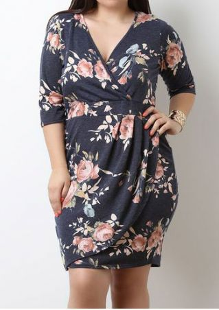 Plus Size Floral Three Quarter Sleeve Mini Dress