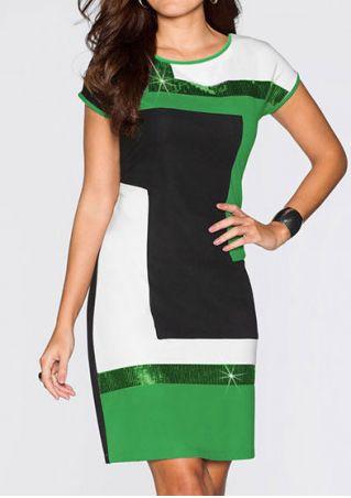 Sequined Color Block Mini Dress