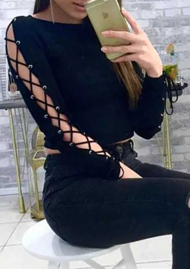 Solid Lace Up Long Sleeve Crop Top