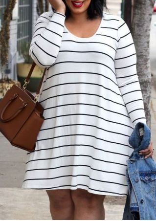 Plus Size Striped Long Sleeve Casual Dress