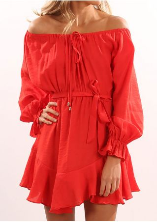 Solid Off Shoulder Mini Dress