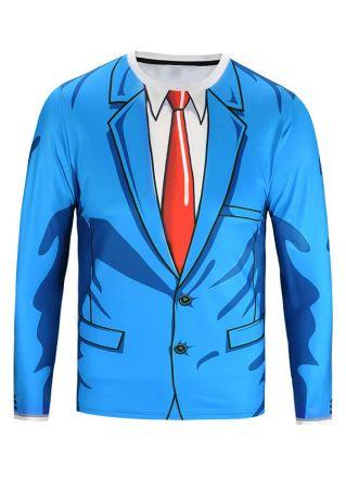 3D Suit Printed O-Neck T-Shirt