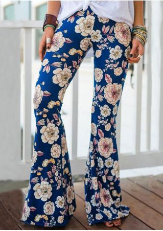 Floral Elastic Waist Flare Pants