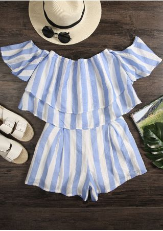 Striped Flouncing Crop Top and Shorts Set