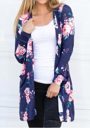 Floral Long Sleeve Pocket Cardigan without Necklace