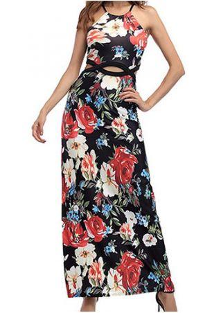 Floral Spaghetti Strap Hole Maxi Dress