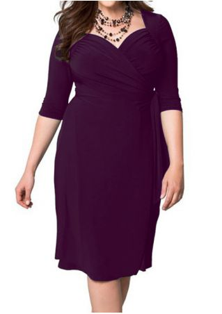 Plus Size Solid Tie Ruched Casual Dress without Necklace