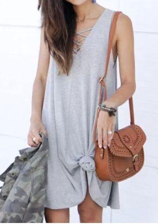 Solid Criss-Cross V-Neck Mini Dress