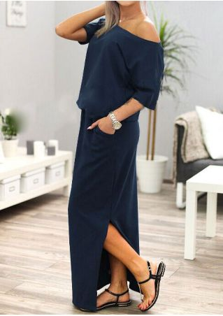 Solid Slit One Shoulder Maxi Dress without Necklace