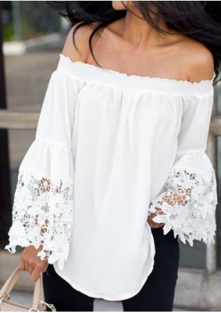Solid Lace Floral Splicing Flare Sleeve Off Shoulder Blouse