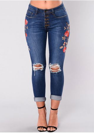 Embroidery Ripped Hollow Out Jeans