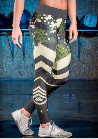 Star Splicing Elastic Waist Skinny Sport Pants