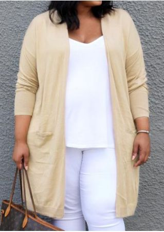 Plus Size Solid Pocket Long Sleeve Cardigan