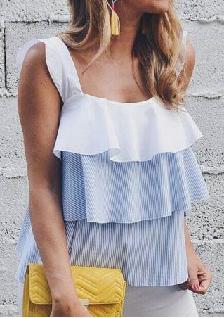 Striped Layered Flouncing Sleeveless Tank