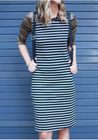 Striped Camouflage Printed Casual Dress without Necklace