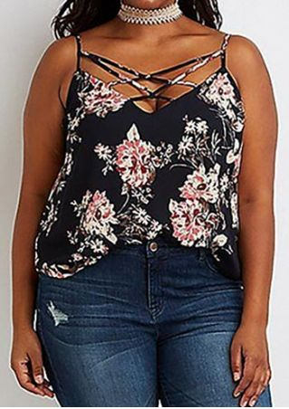 Plus Size Floral Criss-Cross Camisole without Necklace