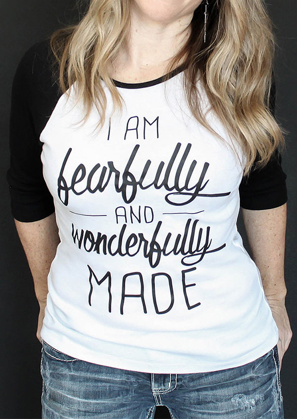 5285ca5a341be Plus Size I Am Fearfully And Wonderfully Made Baseball T-Shirt ...