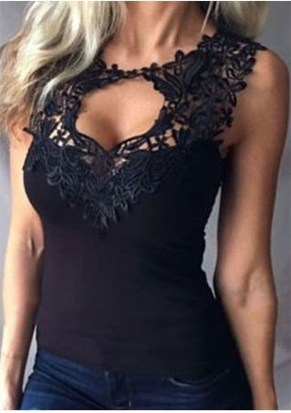 Solid Lace Floral Applique Tank